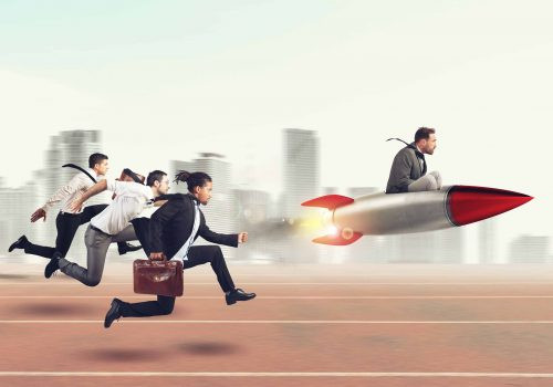 Businessman fly with rocket during a race with opponents . 3D Rendering